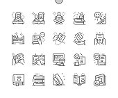 Book and Reading Well-crafted Pixel Perfect Vector Thin Line Icons 30 2x Grid for Web Graphics and Apps. Simple Minimal Pictogram