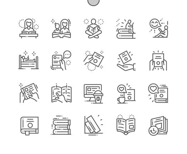 stockillustraties, clipart, cartoons en iconen met boek en lees goed vervaardigde pixel perfect vector dunne lijn pictogrammen 30 2x grid voor webafbeeldingen en apps. eenvoudige minimale pictogram - lezen