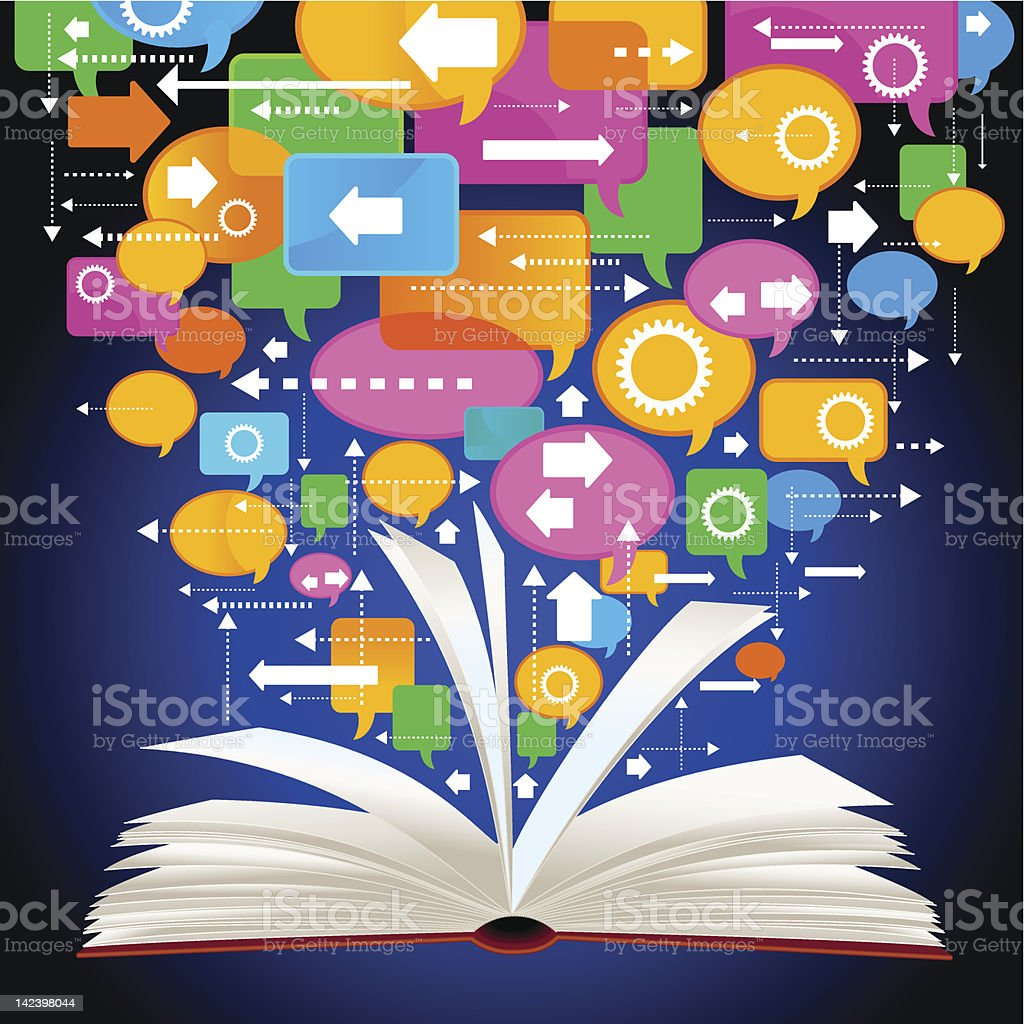 book and speech bubbles royalty-free stock vector art