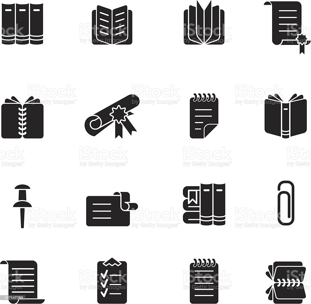 A book and stationery icon set vector art illustration