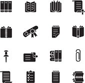 A book and stationery icon set