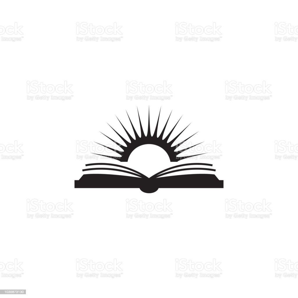 ilustração do livro e o sol. Elemento de ícone biblioteca móveis conceito e aplicativos web. Ícone de livro e sol detalhada pode ser usado para web e mobile - Vetor de Aberto royalty-free