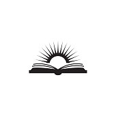 book and sun illustration. Element of library icon for mobile concept and web apps. Detailed book and sun icon can be used for web and mobile on white background