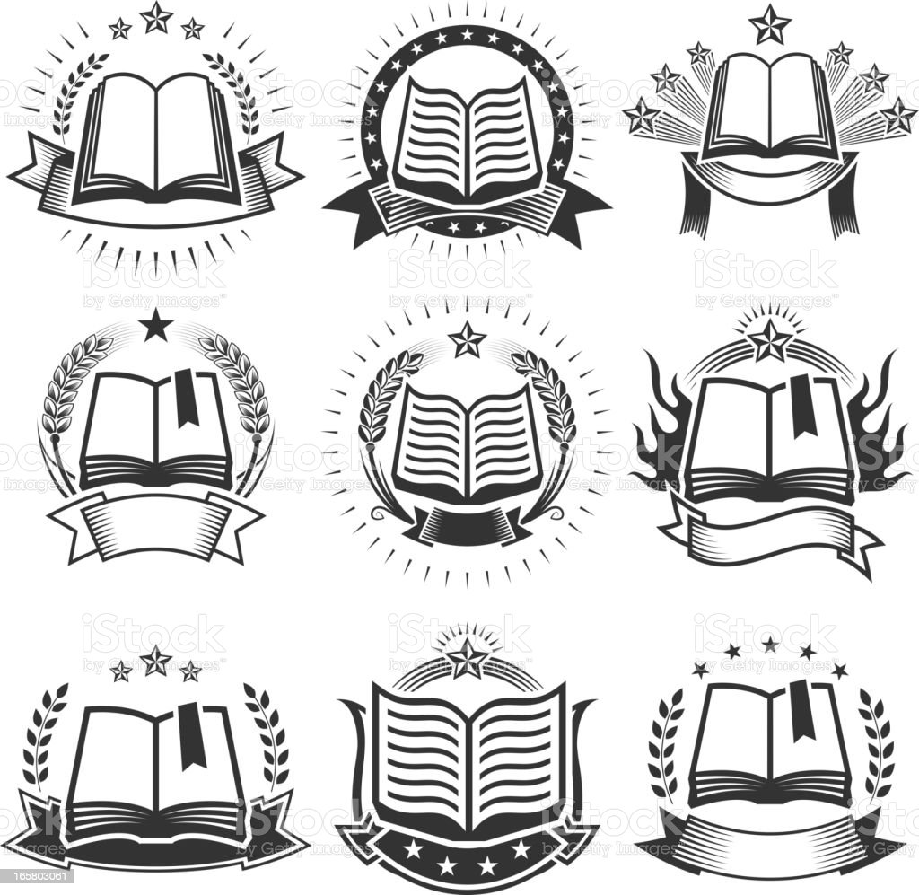 Book Badges black and white royalty free vector icon set royalty-free book badges black and white royalty free vector icon set stock vector art & more images of award