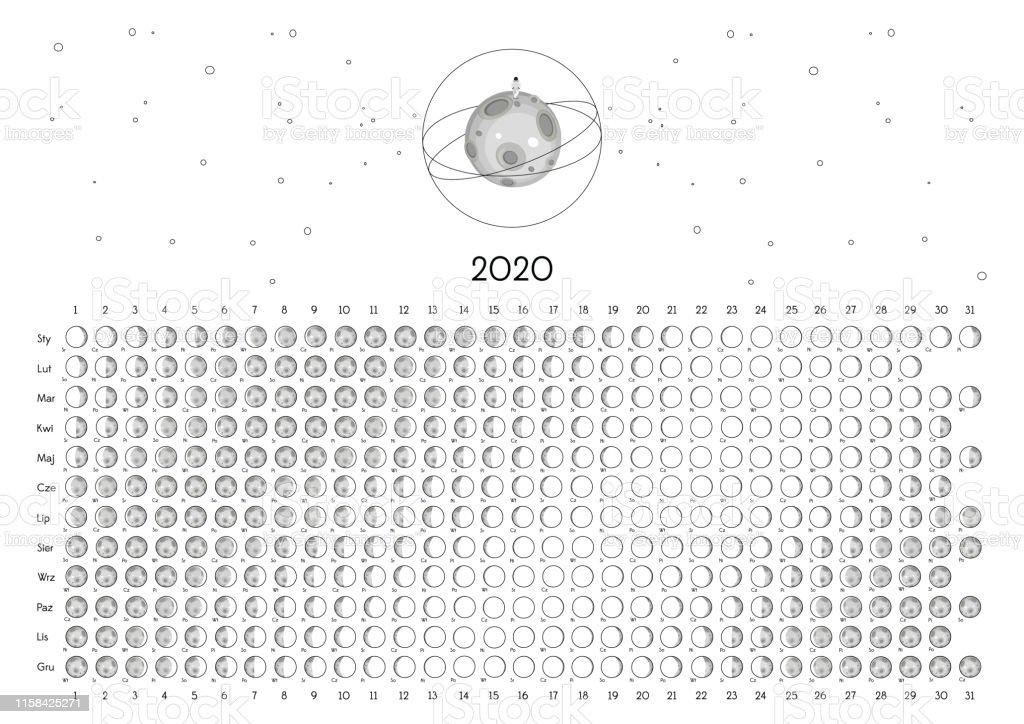 Calendario Lunar 2020 Espana.Ilustracion De Calendario Lunar 2020 Y Mas Vectores Libres De