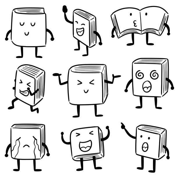 book cartoon – artystyczna grafika wektorowa