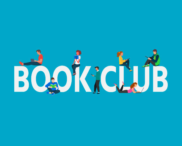 Book club concept illustration. Students Boy and Girl using laptop, books, standing and  sitting near capital letters book club. Book club concept illustration. Students Boy and Girl using laptop, books, standing and  sitting near capital letters book club. Vector illustration can use for, landing page, template,  banner, flyer book club stock illustrations