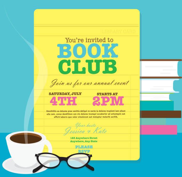 Book club event invitation design template feauring library card Book club event invitation design template. Includes open book and sample text design. Ideal for party, gathering or celebration book signing event. Vector illustration.  book club stock illustrations