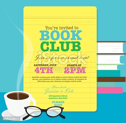 Book Club Event Invitation Design Template Feauring ...