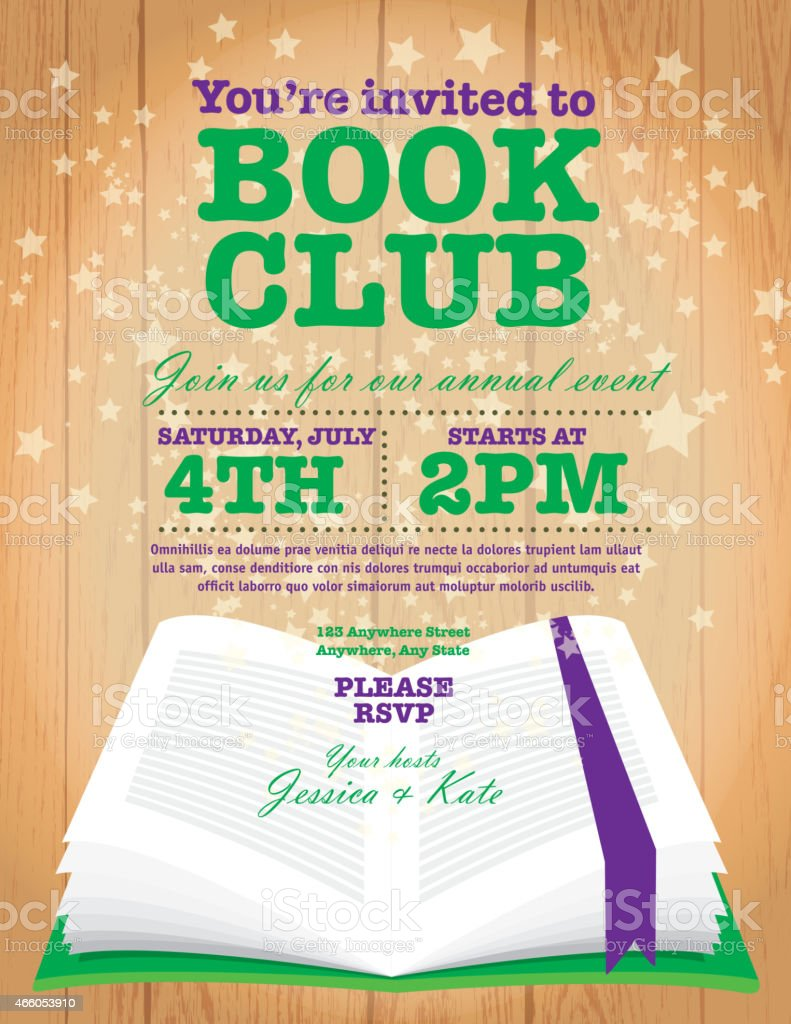 Book Club Event Invitation Design Template On Wooden Background