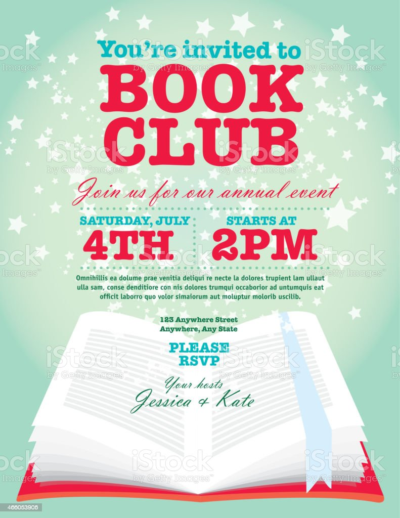 Book Club Event Invitation Design Template Starry Open Book Stock