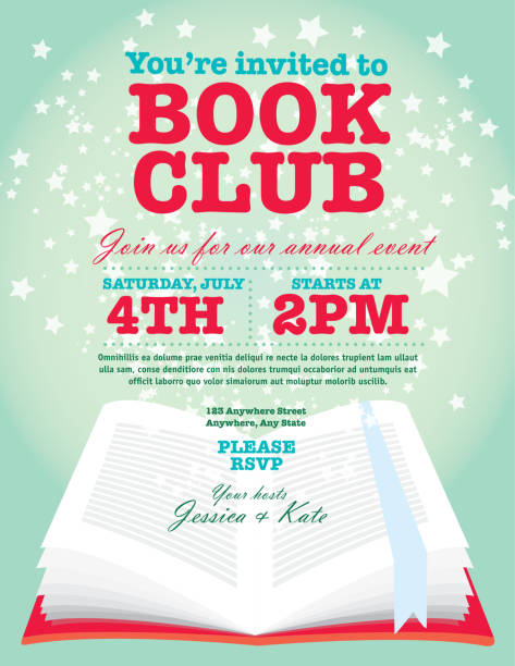 Book club event invitation design template starry open book Book club event invitation design template. Includes open book and sample text design. Ideal for party, gathering or celebration book signing event. Vector illustration.  book club stock illustrations