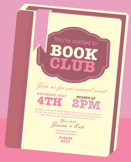 Book club event invitation design template with book main focus Book club event invitation design template. Includes open book and sample text design. Ideal for party, gathering or celebration book signing event. Vector illustration.  book club stock illustrations