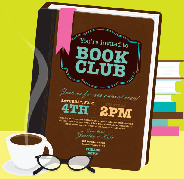 Book club event invitation design template with retro glasses Book club event invitation design template. Includes open book and sample text design. Ideal for party, gathering or celebration book signing event. Vector illustration.  book club stock illustrations