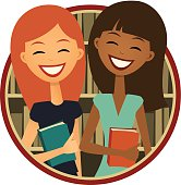 Book Club: Two smiling girls, Retro Cartoon Style