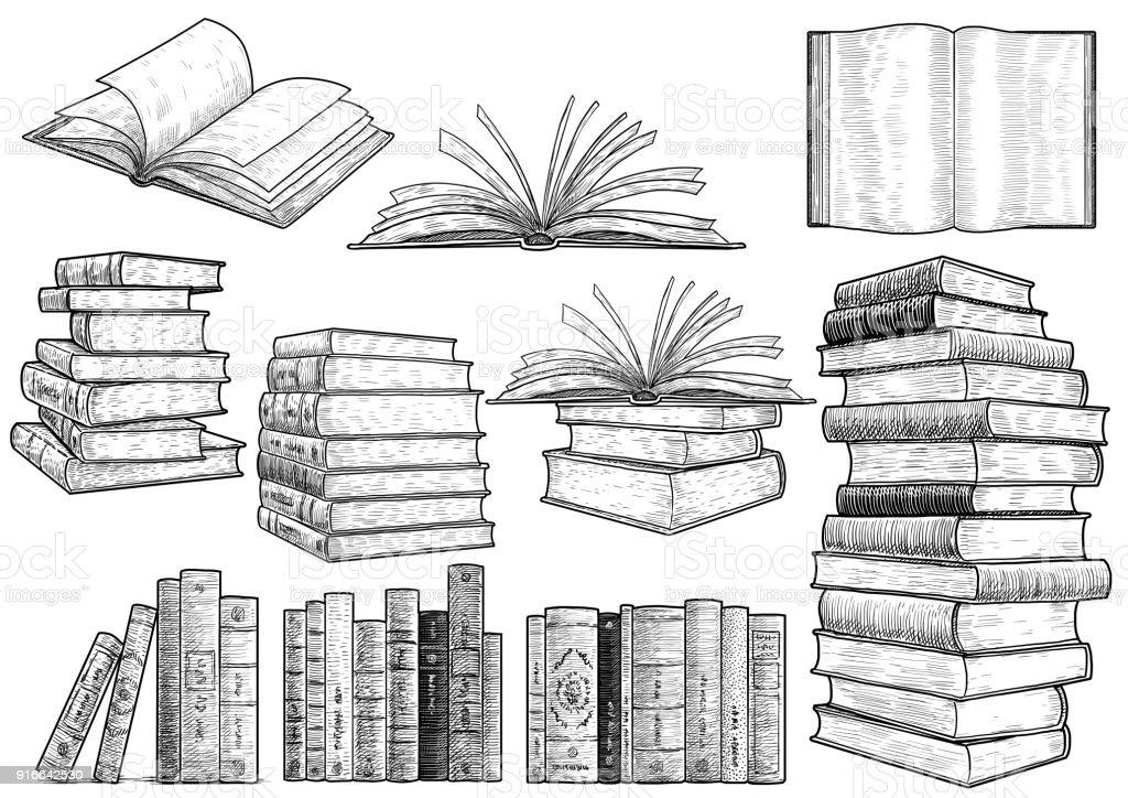 Book collection illustration, drawing, engraving, ink, line art, vector векторная иллюстрация