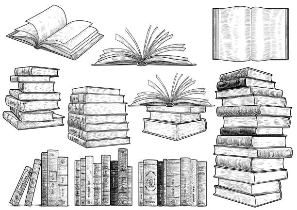 Book collection illustration, drawing, engraving, ink, line art, vector Illustration, what made by ink, then it was digitalized. etching stock illustrations