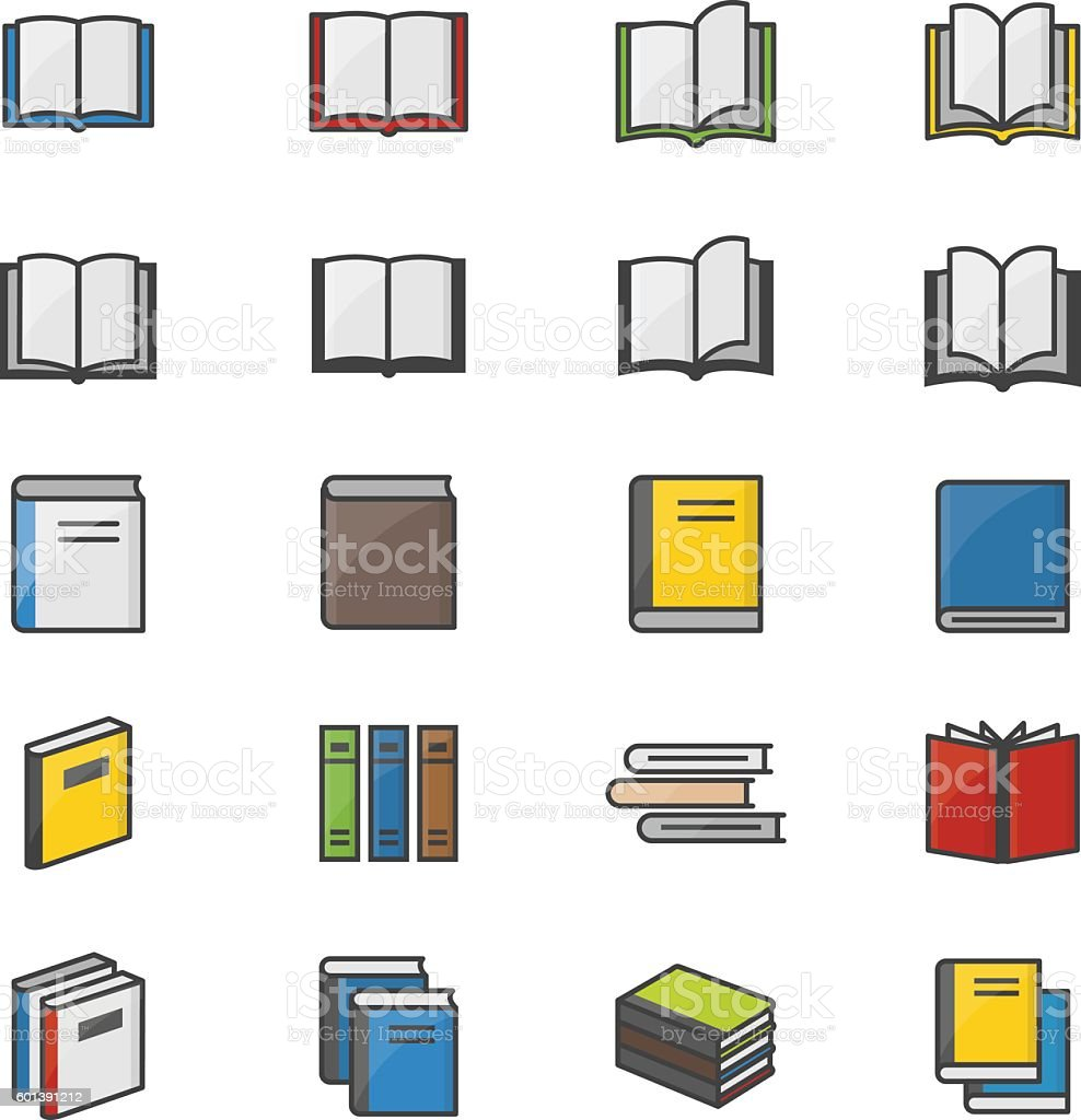 Book Color Icons Set Of Stationery Vector Illustration vector art illustration