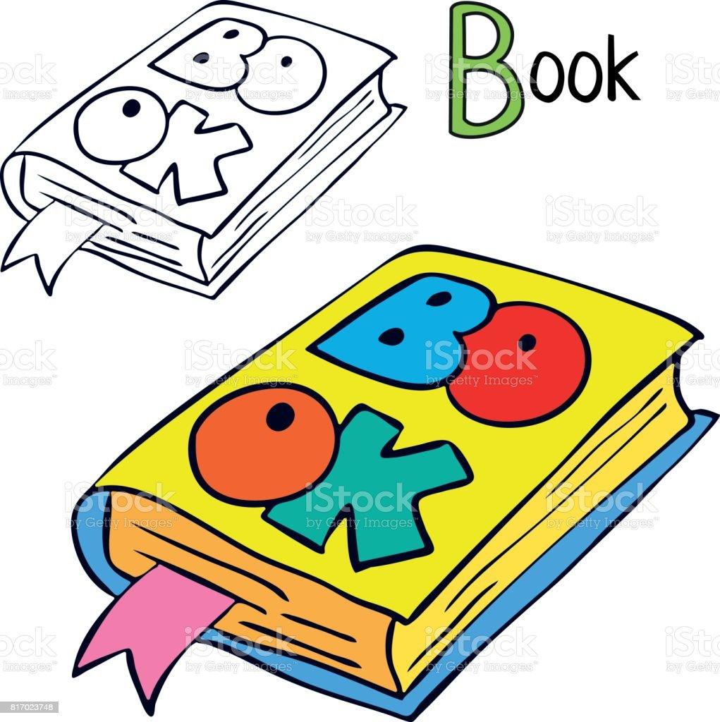 Kitap Boyama Kitabı Sayfası çizgi Film Vektör çizim Stok Vektör