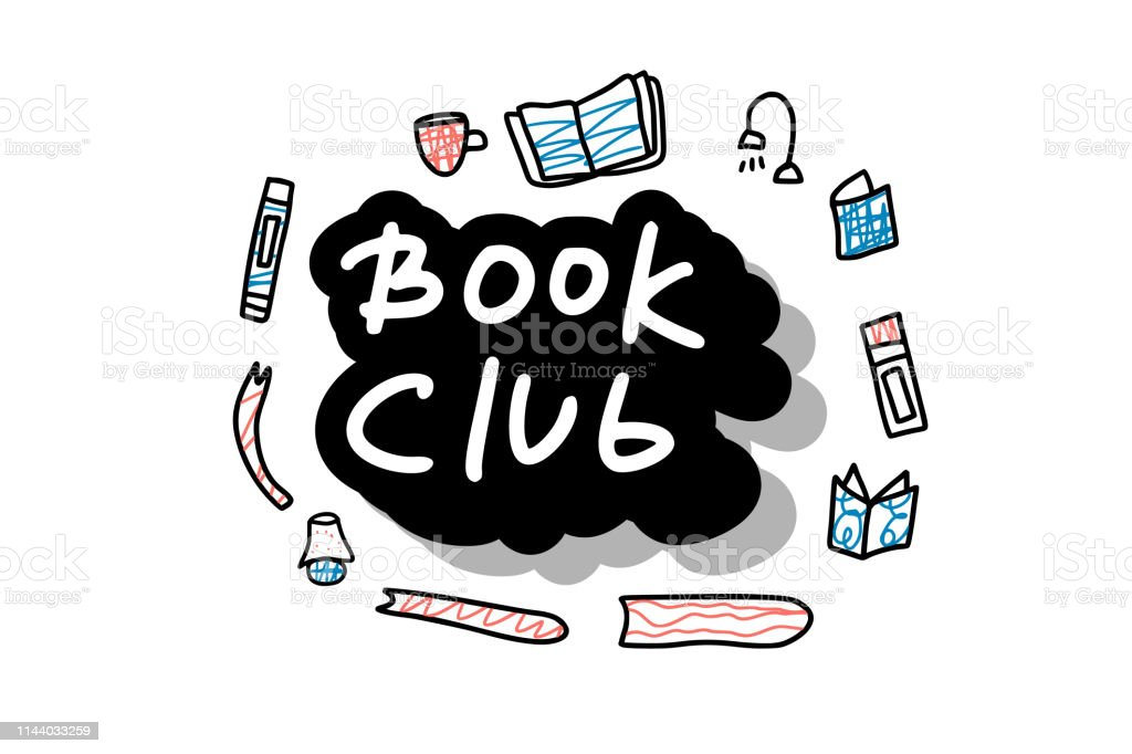 Book set in doodle style. Book club concept. Symbols of reading on...