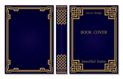 Book cover and spine design with a Celtic or Asian weave knot. Vintage old frames and corners. Luxury Gold and dark blue style design. Border to be printed on covers and pages of books.