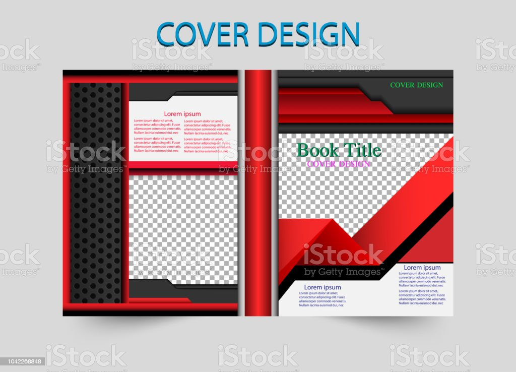 book cover design red template geometry. Vector illustration. You image vector art illustration