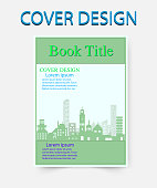 book cover design template building green. Vector illustration. You image