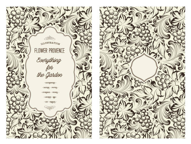 Book cover design Design for you personal cover. Vine pattern. Vine theme for book cover. Wine texture illustration in style of engraving. Vector illustration.  encyclopaedia stock illustrations