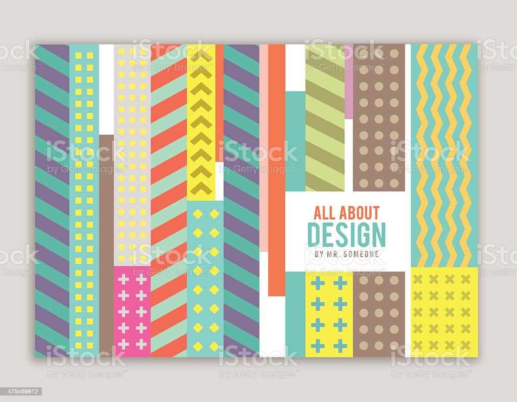 Book cover design with pattern vector art illustration