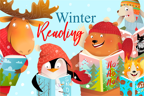 Book Cover Kids Animals Read and Study in Winter
