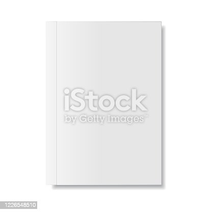 Magazine or Book White Blank Cover Isolated. Mock Up Template on White Background.