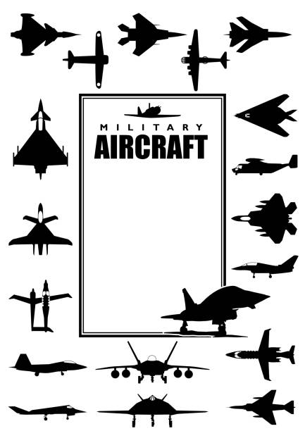 book cover with silhouettes of different types of military aircraft on white background. size a4 - alejomiranda stock illustrations
