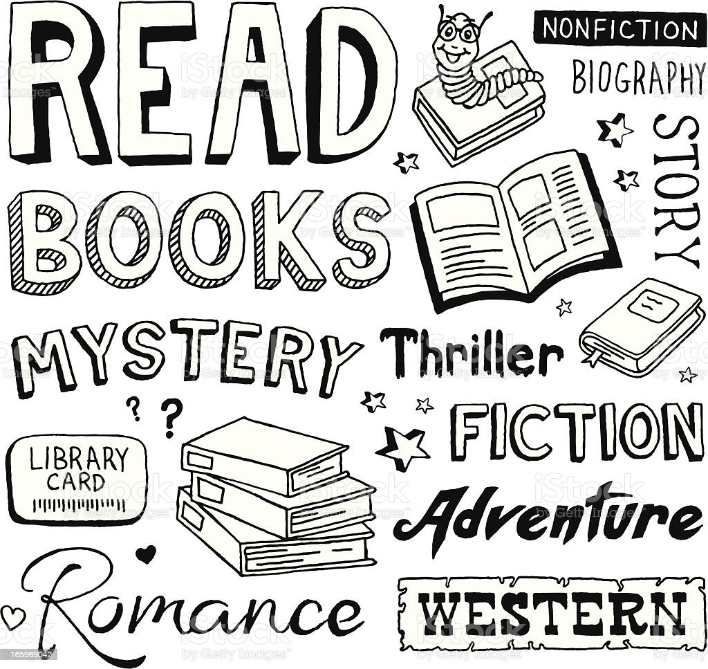 Book Doodles vector art illustration