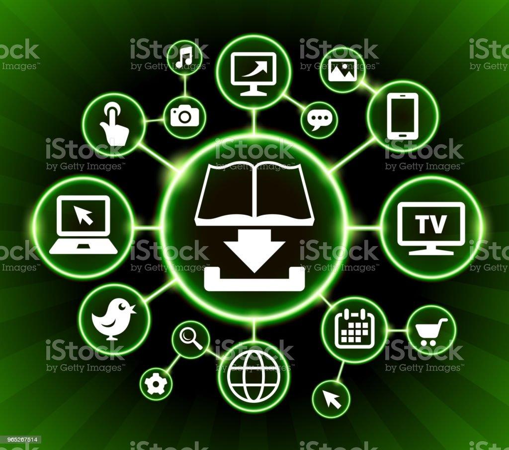 Book Download Internet Communication Technology Dark Buttons Background - Grafika wektorowa royalty-free (Akcesorium osobiste)