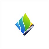 Book Educational Design Illustrations Vector Template. Open book in a shape of growing Leaf Overlap. Internet network online school icon. Virtual courses branding identity