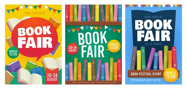 Book Fair poster event Invitation. Bookshelf. Book Festival flyer. Vector illustration