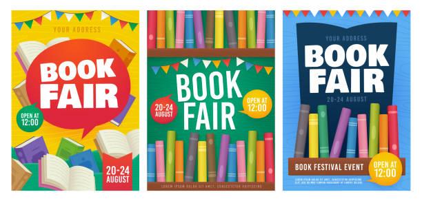 Book Fair poster event Invitation. Bookshelf. Book Festival flyer. Vector illustration Book Fair poster event Invitation. Bookshelf. Book Festival flyer. Vector illustration book backgrounds stock illustrations