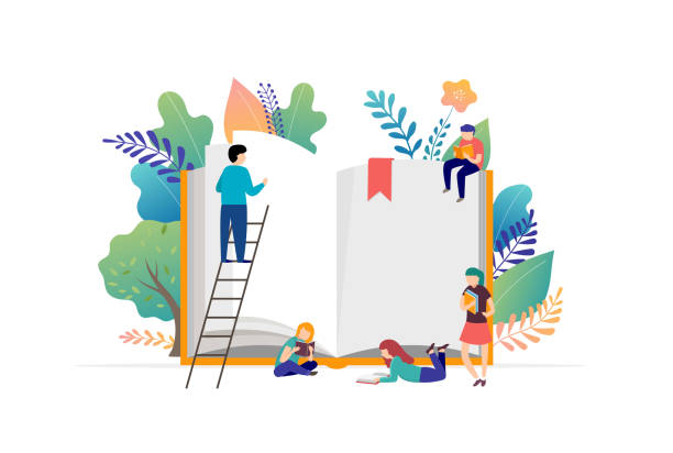 Book festival concept - a group of tiny people reading a huge open book. Vector illustration, poster and banner vector art illustration