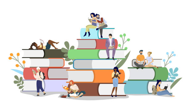 Book festival concept vector flat style design illustration Diversity people readers male and female characters reading books while sitting on book pile, vector flat illustration. Literary festival concept for web banner, website page etc. book stock illustrations