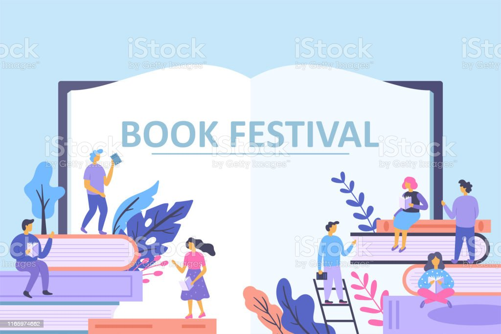 Book festival concept with small characters people reading books....
