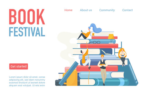 Book festival landing page poster vector illustration. Students man and woman reading, leaning and sitting on big books. Flat design for library, online learning, book store or modern education. vector art illustration