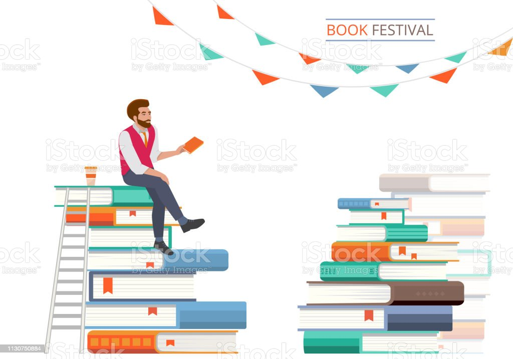 Book festival poster with stacks of books and man . Literature event,...