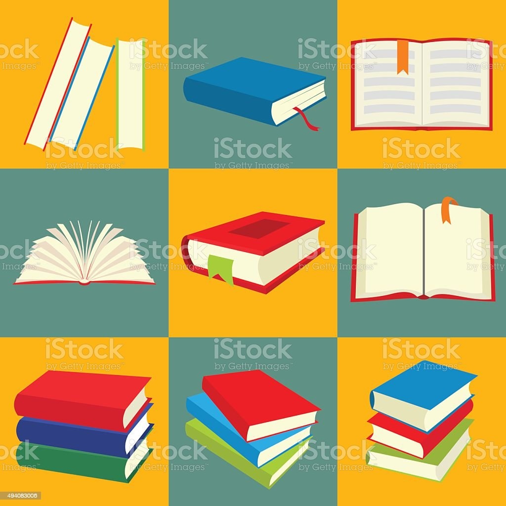 Book flat icon set vector art illustration