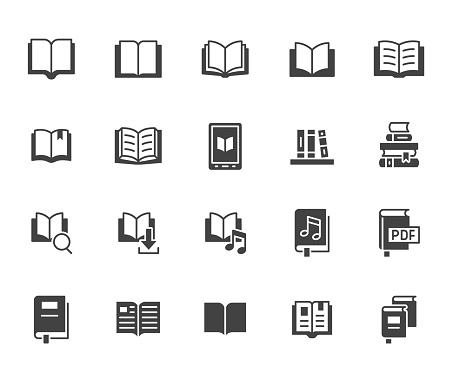 Book flat icons set. Open books, dictionary, bible, audio novel, dictionary, literature education black minimal vector illustrations. Simple glyph silhouette signs for web library app.