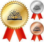 ABC Book  Gold Medal Prize Ribbons. This illustration features the main icon on a golden medal with a red ribbon. The medal has a starburst effect and a realistic golden color and texture. There are two alternate medal variations on the right of the image. One in Silver and one in bronze color. This vector image is ideal for completion and event award concepts.