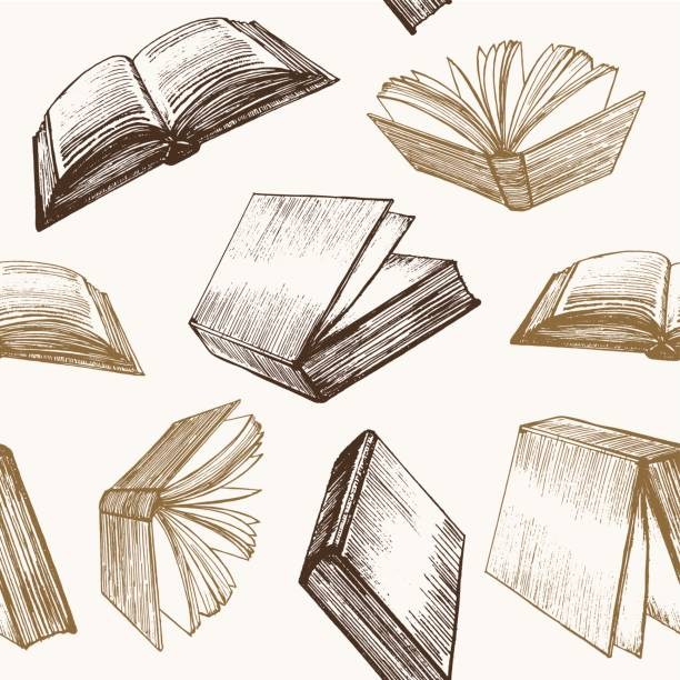 Book Hand Draw Sketch Background Pattern. Vector Book Hand Draw Sketch Background Pattern Retro Style Web Design. Vector illustration book patterns stock illustrations