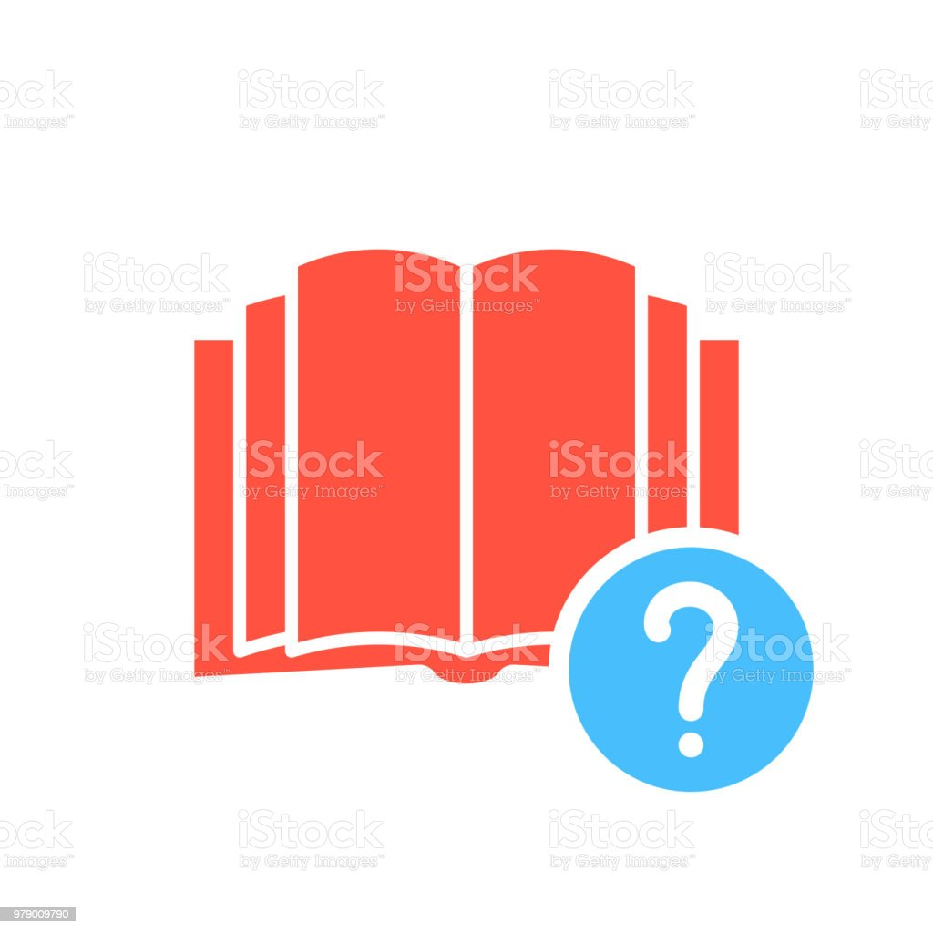 Book icon, education icon with question mark. Book icon and help, how to, info, query symbol vector art illustration