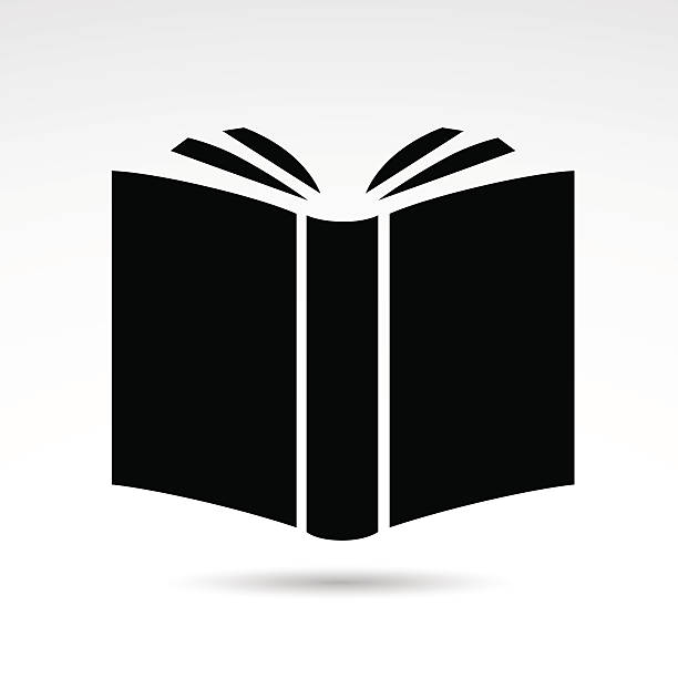 Book icon isolated on white background. Vector illustration: open book icon - symbol of literature, education, art et. book silhouettes stock illustrations