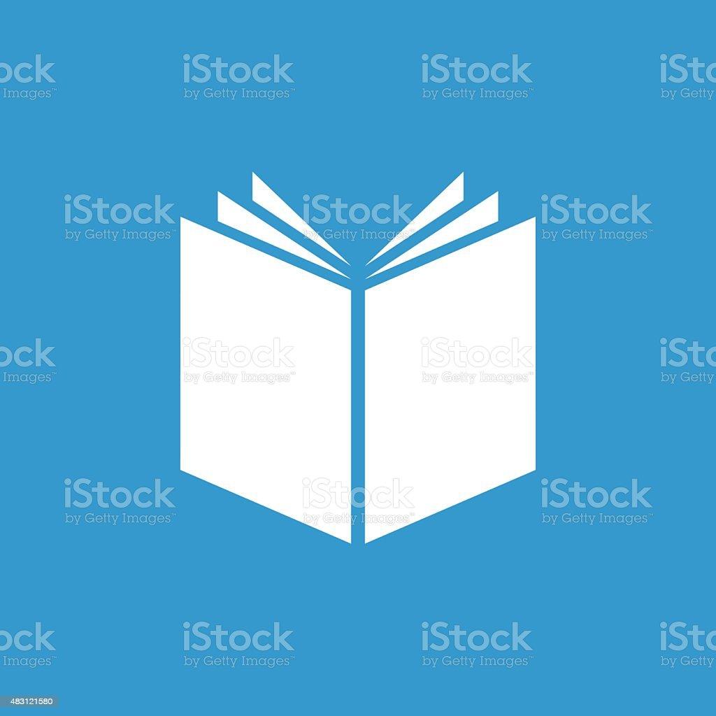 Ícone do Livro Branco, isolada no Fundo azul - ilustração de arte em vetor