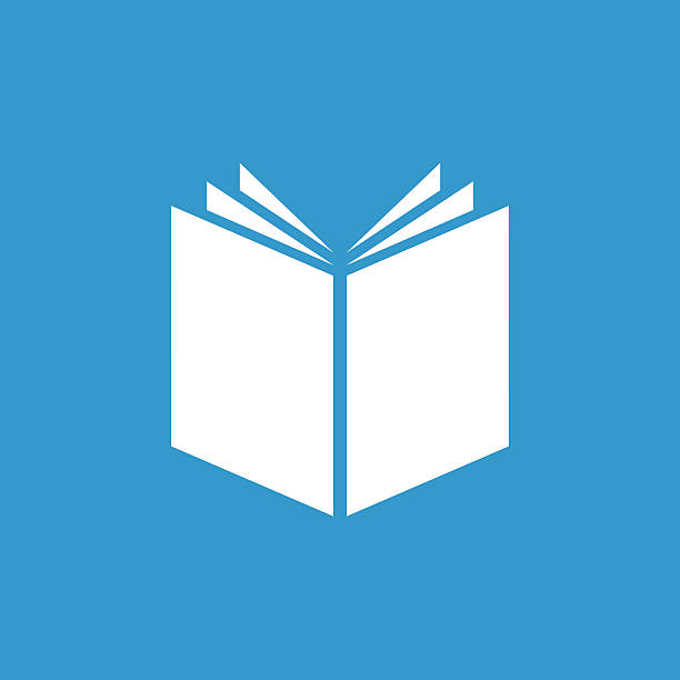 book icon, isolated, white on the blue background vector art illustration